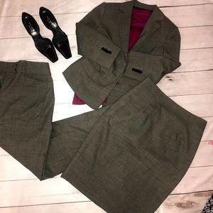 Ann Taylor Suit Blazer Skirt Pants Set Sz 4